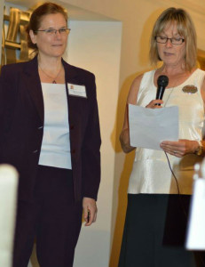 Kathy gets special recognition at Women of Excellence on July 15, 2014.